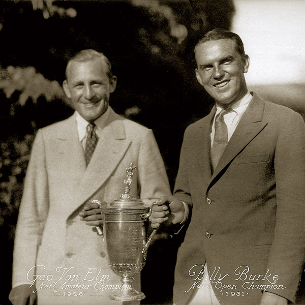 George Von Elm and Billy Burke pose with trophy