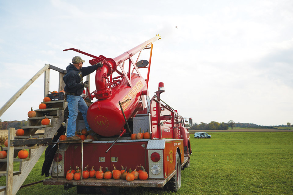 The pumpkin cannon at Maize Valley